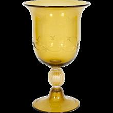 Italian Cup in Venetian Murano Glass amber and 24K Gold