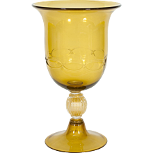 Italian Cup in Venetian Murano Glass amber and 24K Gold