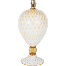 Italian Table lamp in Murano Glass amber and white