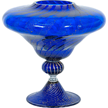 Italian Vase in Murano Glass blue and silver
