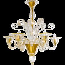 Modern Italian Chandelier in Murano Glass 24K Gold