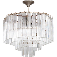 Italian chandelier in transparent Murano glas