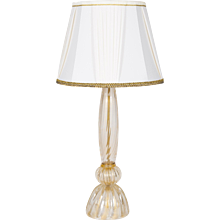 Italian table lamp in Murano glass 24K Gold