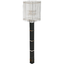 Modern Italian Floor Lamp in Murano Glass in Black and Transparent, 1990s