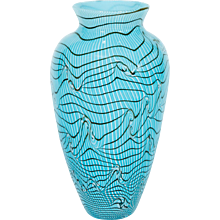 Modern Italian Vase in Murano Glass in Light Blue, Black and White from 1990s