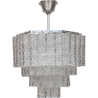 Italian Chandelier in Transparent Murano Glass, circa 1960s