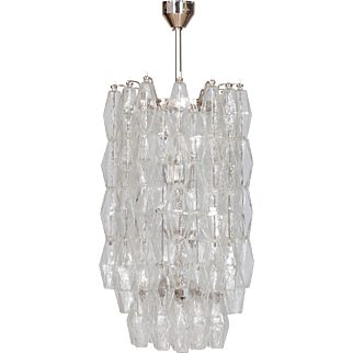 Italian Modern Chandelier in Transparent Murano Glass, Venini, 1960s