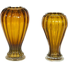 Pair of Italian Vases in Murano Glass Amber and Gold, 1990s