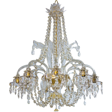 Italian Chandelier in transparent Murano Glass and 24K Gold, 1950s