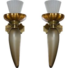 Pair of Italian Sconces in Murano Glass, 24K gold, 1950s