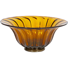 Italian Bowl in Murano Glass in amber with 24K Gold