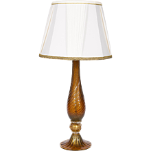 Italian Table lamp in Murano Glass in amber and 24K Gold, Seguso 1980s