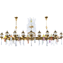 Italian country festival chandelier in Murano Glass, 1950s