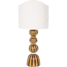 Italian Table lamp in Murano Glass 24K Gold and red