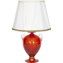 Italian Table lamp in Murano Glass red and 24K Gold