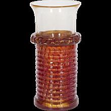 Italian Venetian Vase in Murano Glass 24K Gold and red, Barovier & Toso 1970s