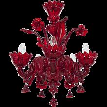 Italian Venetian Chandelier in red Murano Glass