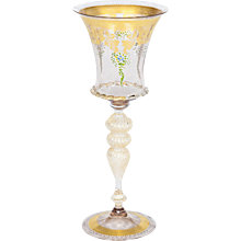 Italian Venetian handblown Goblet in Murano Glass 24K Gold