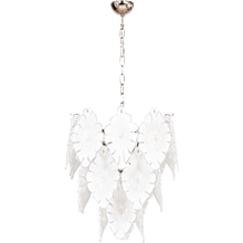 Italian Venetian chandelier in Murano Glass white, Mazzega 1970s
