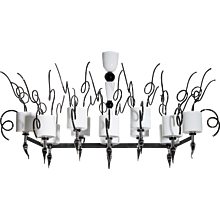 Italian Chandelier in Murano glass black and white, 1960s