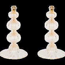 Pair of Italian Venetian table lamp in Murano glass 24K Gold, Barovier & Toso 1970s