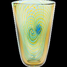 Italian Venetian vase in Murano glass with green orange spiral stripes