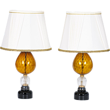 Pair of Italian Venetian Table lamp in Murano Glass, amber and 24K Gold