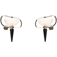 Pair of Italian Murano Glass Sconces, Attributed to Camer Glass, circa 1960s