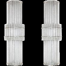 Pair of Italian Murano Glass Floor Lamps, Mazzega around 1970s