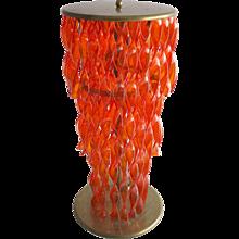 Italian Venetian Murano Glass Floor Lamp in orange, around 1950s