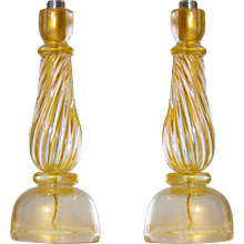 Pair of Italian Venetian Table Lamps in Murano Glass, 1960s Seguso