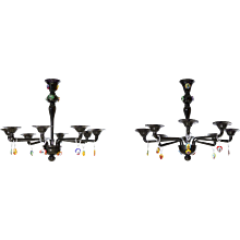 "Pair of Italian Chandeliers with ""Picasso Sculpture"" in Cenedese Style"