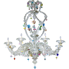 Italian Murano Glass Ca'rezzonico Chandelier Seguso around 1950s