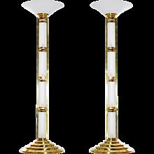 Pair of Italian Venetian Floor Lamps in Murano Glass around 1960s