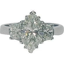 2.09ct Marquise Diamond in 3 Stone Ring