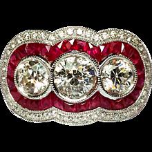 Handmade Platinum, Ruby & Diamond Ring