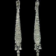 Deco-style Long Diamond Earrings