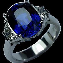 5.93 carat Fine Blue Sapphire Ring