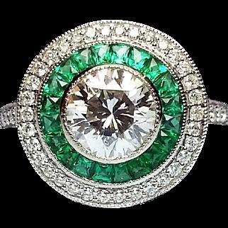 Handmade Platinum, Diamond, & Emerald Ring