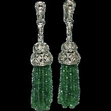 Emerald & Diamond Tassel Earrings