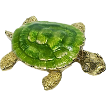 Enamel & Gold Turtle Pin