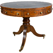 English Regency Period Mahogany Drum Library Table