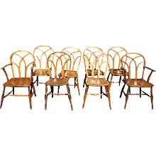 Set of Eight George IV Ash and Elm Gothic Windsor Chairs