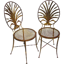 Pair of Italian Gilt Metal Wheat Sheaf Chairs