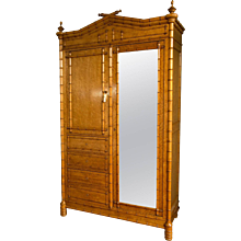 Aesthetic Movement Maple Faux Bamboo Armoire Attributed to R.J. Horner & Co.