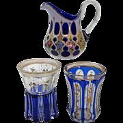 Group of Three Vintage Bohemain Cobalt Glassware Pieces