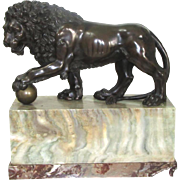 Bronze Medici Lion Statue on a Marble Plinth