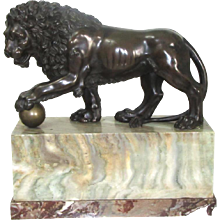 Bronze Medici Lion Statue on a Marble Plinth