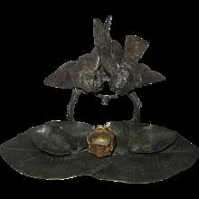 Charles Cumberworth Signed Bronze Inkwell