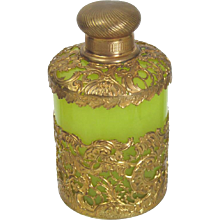 Palais Royal Green Opaline and Gilt Bronze Scent Bottle
